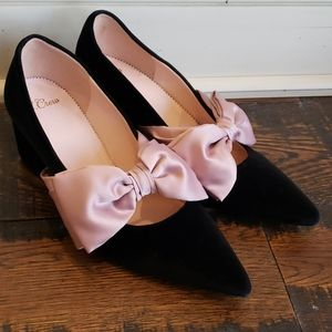 J Crew Laney pumps with bow in velvet AE944